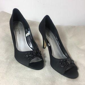 Black Satin Peep Toe Embellished Heels 9.5